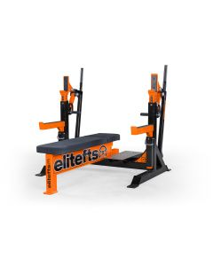 elitefts Signature Competition Olympic Bench with Safeties, Foot Lever, and Logo Panels